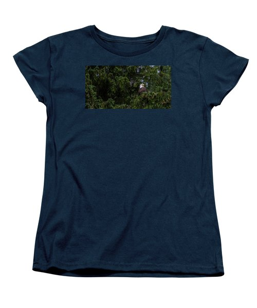 Bald Eagle In The Tree Women's T-Shirt (Standard Cut) by Timothy Latta