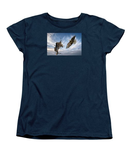 Women's T-Shirt (Standard Cut) featuring the photograph Bald Eagle Landing On Old Nest by Brian Tarr