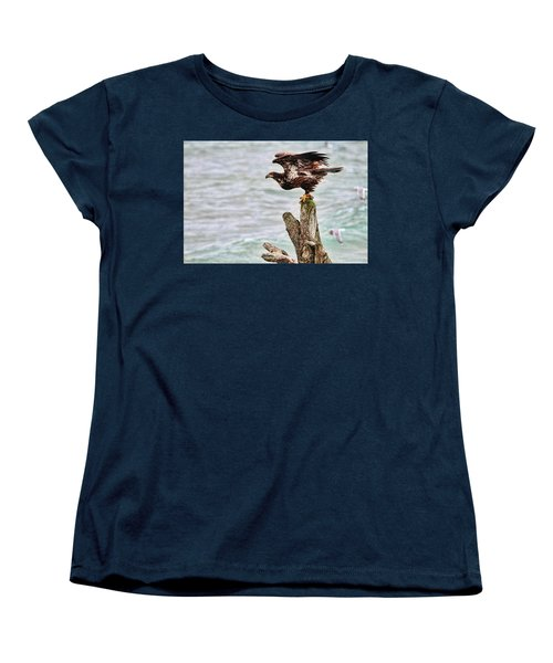 Bald Eagle On Driftwood At The Beach Women's T-Shirt (Standard Cut) by Peggy Collins