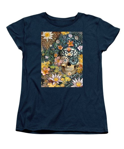 Bali Botaniskull - Floral Sugar Skull Art Women's T-Shirt (Standard Cut) by Christopher Beikmann