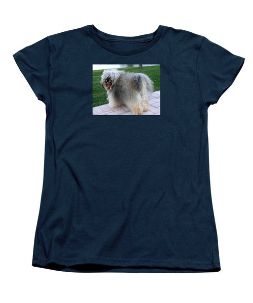 Women's T-Shirt (Standard Cut) featuring the photograph ball of fur Havanese dog by Sally Weigand