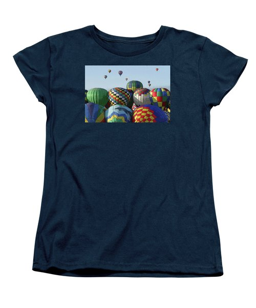 Women's T-Shirt (Standard Cut) featuring the photograph Balloon Traffic Jam by Marie Leslie