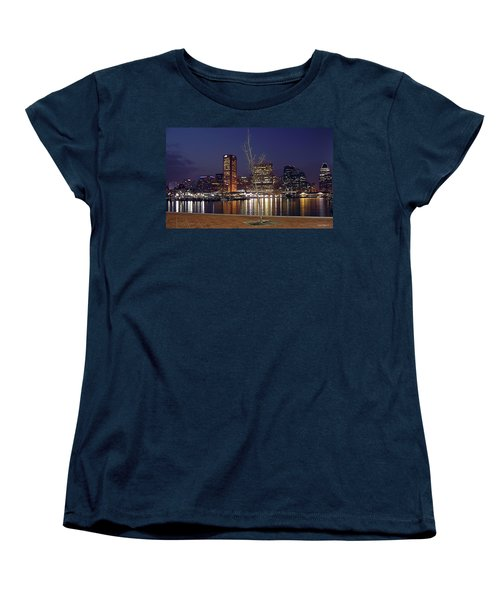Women's T-Shirt (Standard Cut) featuring the photograph Baltimore Reflections by Brian Wallace
