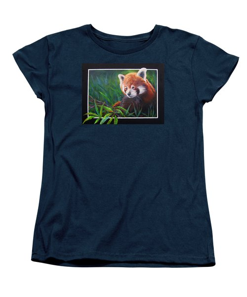 Women's T-Shirt (Standard Cut) featuring the painting Bamboo Basking--red Panda by Mary McCullah