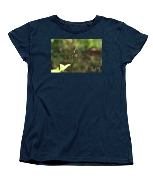 Women's T-Shirt (Standard Cut) featuring the photograph Banana Spider In Web by John Black