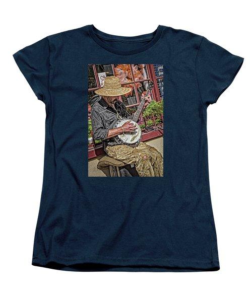 Banjo Man Orange Women's T-Shirt (Standard Cut) by Jim Thompson