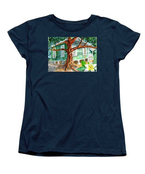 Women's T-Shirt (Standard Cut) featuring the painting Banyan In The Backyard by Eric Samuelson