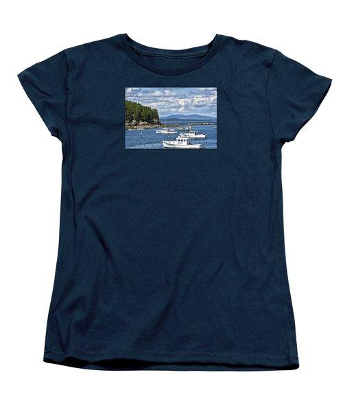 Bar Harbor Lobster Boats - Frenchman Bay Women's T-Shirt (Standard Cut) by Brendan Reals