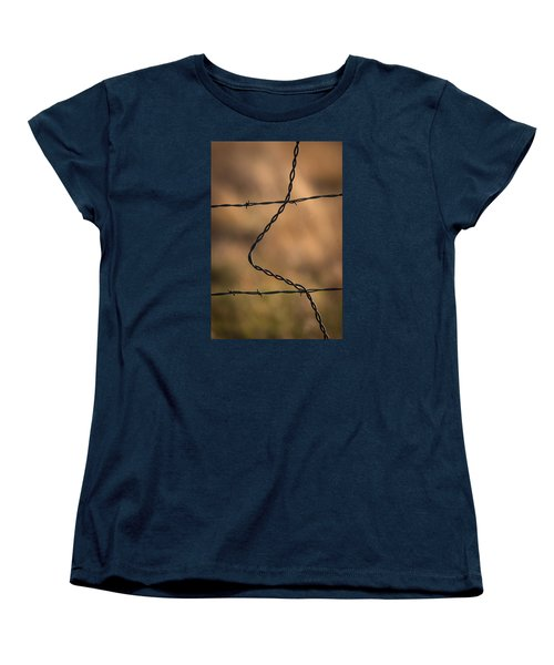 Barbed And Bent Fence Women's T-Shirt (Standard Cut) by Monte Stevens