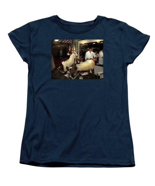 Women's T-Shirt (Standard Cut) featuring the photograph Barber - A Time Honored Tradition 1941 by Mike Savad