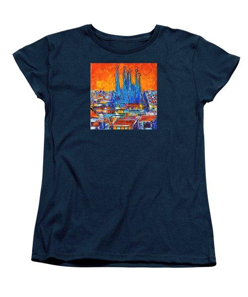 Barcelona Abstract Cityscape 7 - Sagrada Familia Women's T-Shirt (Standard Cut) by Ana Maria Edulescu