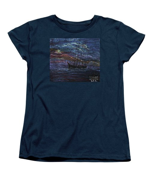 Barco Negro- Tribute To Amalia Rodrigues Women's T-Shirt (Standard Cut) by AmaS Art