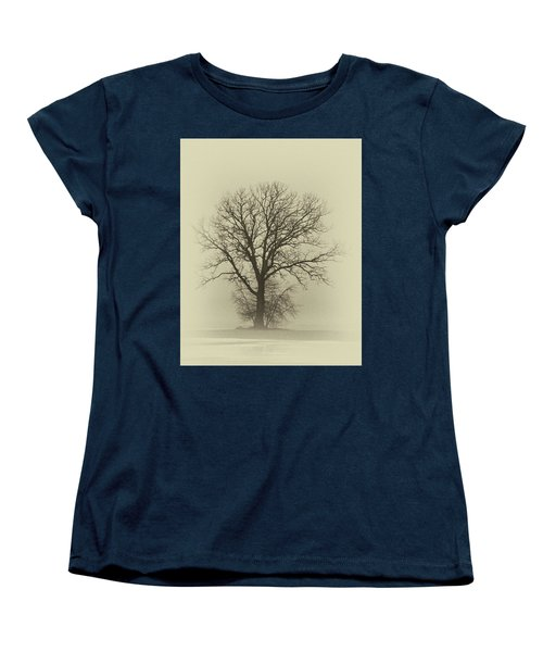 Bare Tree In Fog- Nik Filter Women's T-Shirt (Standard Cut) by Nancy Landry