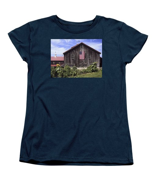 Barn And American Flag Women's T-Shirt (Standard Cut) by Sally Weigand