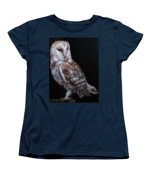 Women's T-Shirt (Standard Cut) featuring the painting Barn Owl by Cherise Foster