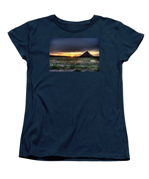 Women's T-Shirt (Standard Cut) featuring the photograph Barn Sunrise by Jim and Emily Bush