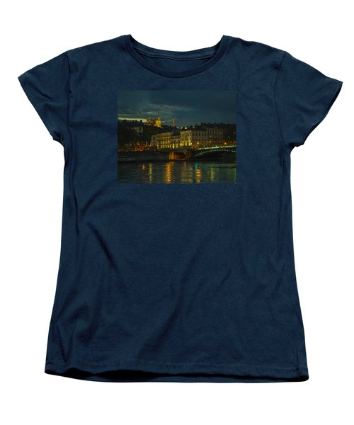 Women's T-Shirt (Standard Cut) featuring the photograph Basilica Notre Dame De Fourviere From Across The Rhone River by Allen Sheffield