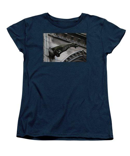 Women's T-Shirt (Standard Cut) featuring the photograph Bat Eared Dog Gargoyle Of Notre Dame by Christopher Kirby