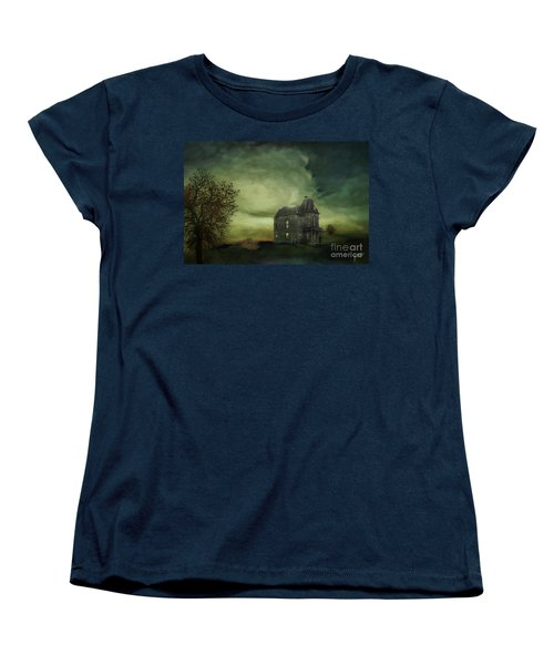 Women's T-Shirt (Standard Cut) featuring the mixed media Bates Residence by Jim  Hatch