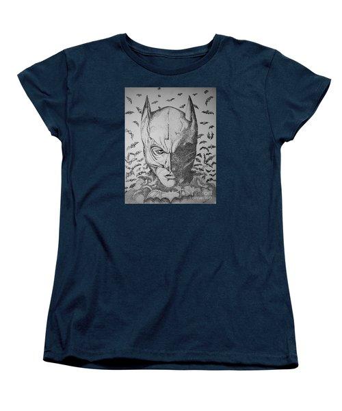 Women's T-Shirt (Standard Cut) featuring the drawing Batman Flight by Tamyra Crossley