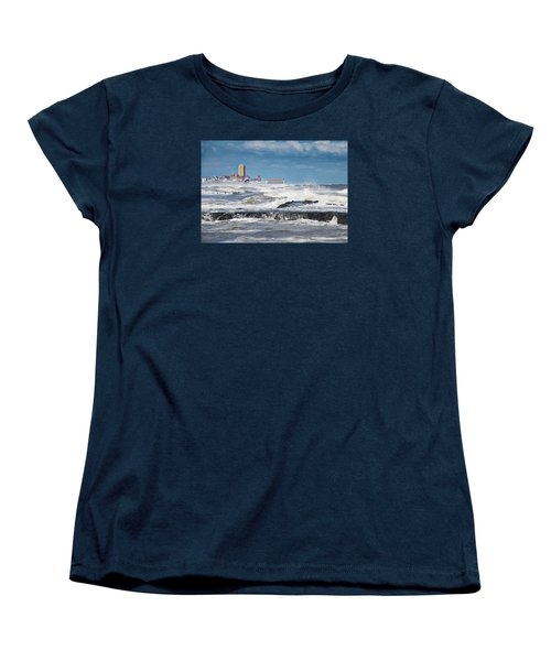 Women's T-Shirt (Standard Cut) featuring the photograph Battering The Seawall At Shark River Inlet by Gary Slawsky