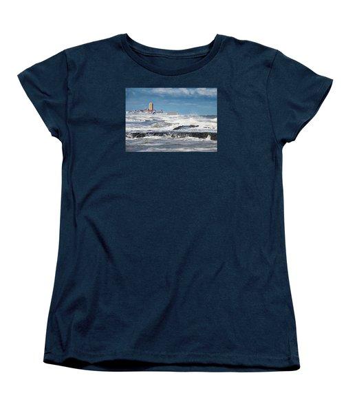 Battering The Seawall At Shark River Inlet Women's T-Shirt (Standard Cut) by Gary Slawsky
