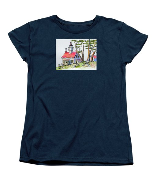 Women's T-Shirt (Standard Cut) featuring the painting Battery Point Lighthouse by Terry Banderas