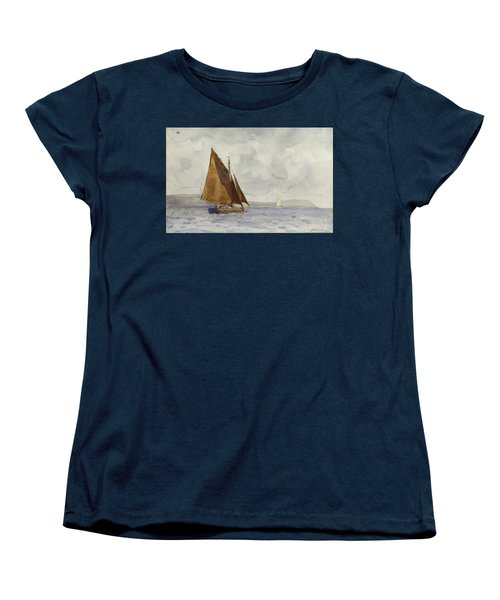 Women's T-Shirt (Standard Cut) featuring the painting Bawley Running Up The Coast by Henry Scott Tuke