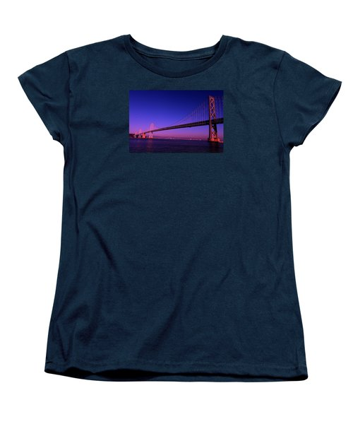 Bay Bridge Sunset Women's T-Shirt (Standard Cut) by Linda Edgecomb