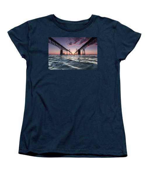 Women's T-Shirt (Standard Cut) featuring the photograph Bay Bridge Twilight by Jennifer Casey