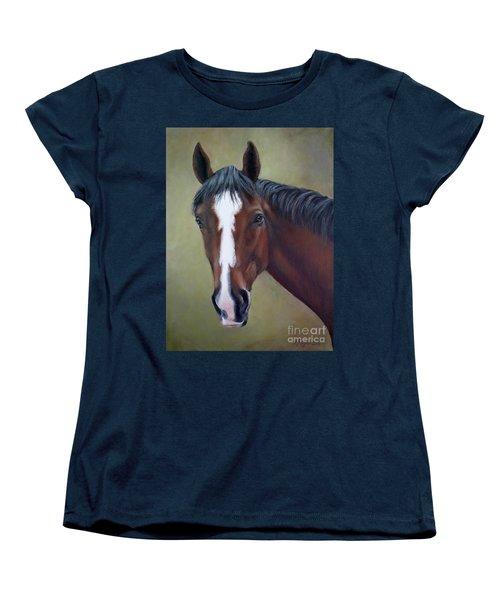 Bay Thoroughbred Horse Portrait Ottb Women's T-Shirt (Standard Cut)