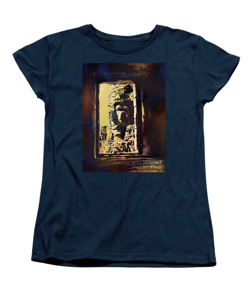 Women's T-Shirt (Standard Cut) featuring the painting Bayon IIi- Cambodian Ruins, Angkor Wat by Ryan Fox