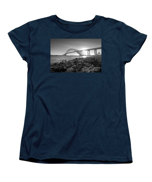 Bayonne Bridge Black And White Women's T-Shirt (Standard Cut)