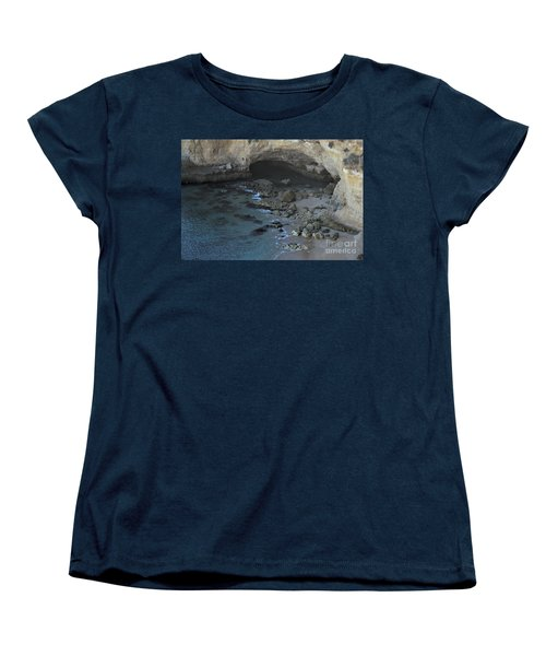 Beach Cave From The Cliffs In Malhada Do Baraco Women's T-Shirt (Standard Cut) by Angelo DeVal