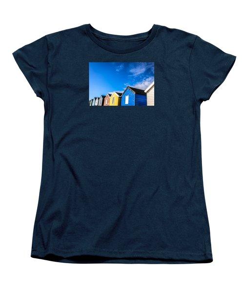 Beach Huts In The Sunlight Women's T-Shirt (Standard Cut) by David Warrington