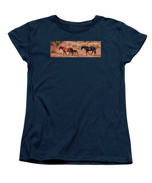 Beach Ponies - Wild Horses In The Dunes Women's T-Shirt (Standard Cut) by Bonnie Mason