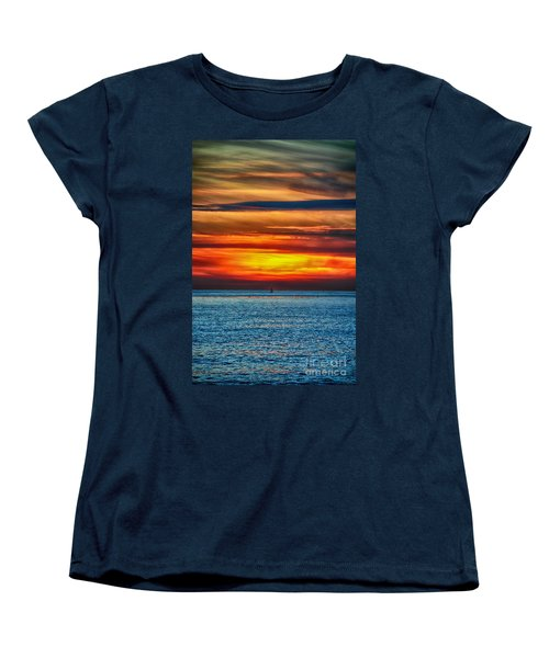 Women's T-Shirt (Standard Cut) featuring the photograph Beach Sunset And Boat by Mariola Bitner