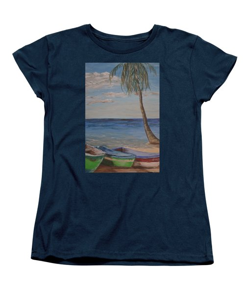 Women's T-Shirt (Standard Cut) featuring the painting Beached by Debbie Baker