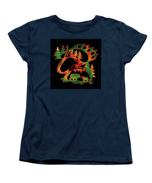 Emerald Bear Paw  Women's T-Shirt (Standard Cut) by Larry Campbell