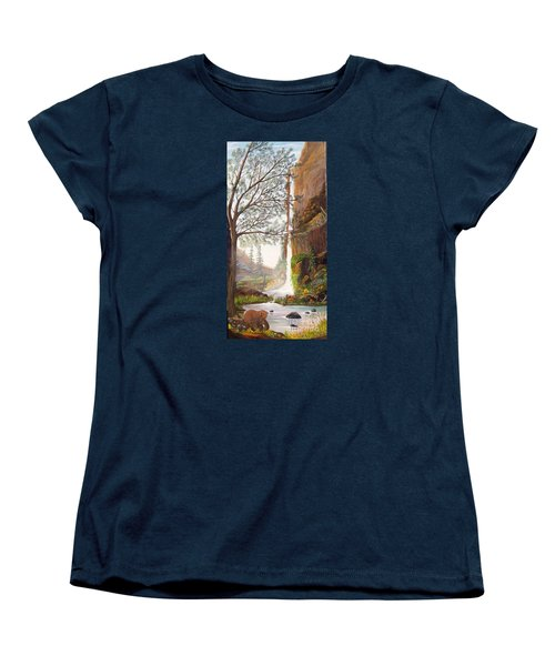 Women's T-Shirt (Standard Cut) featuring the painting Bears At Waterfall by Myrna Walsh