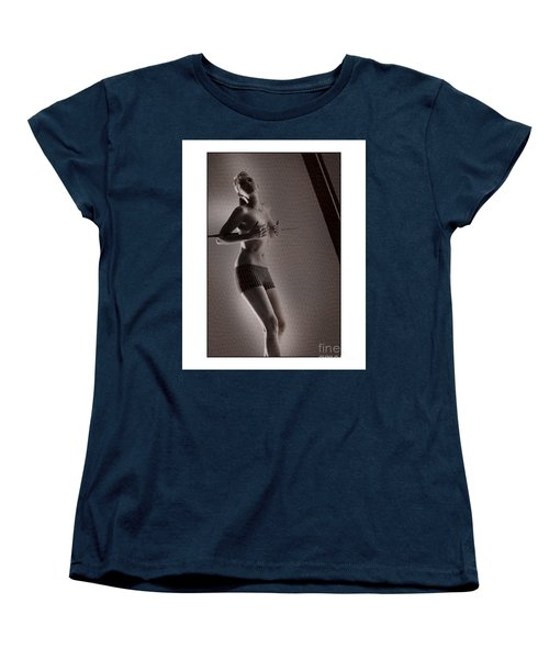 Women's T-Shirt (Standard Cut) featuring the photograph Beautiful Blonde Holding Her Breasts by Michael Edwards