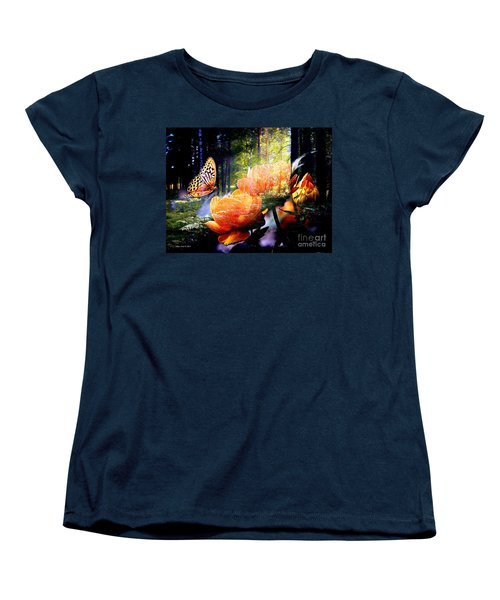 Beautiful Butterfly And Flowers In Forest Women's T-Shirt (Standard Cut)