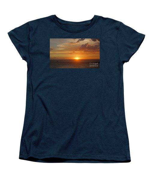 Women's T-Shirt (Standard Cut) featuring the photograph Beautiful Sunset At Kaohsiung Harbor by Yali Shi