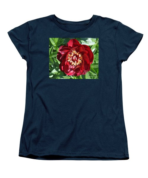 Beauty Peony Bloom Women's T-Shirt (Standard Cut) by Marsha Heiken