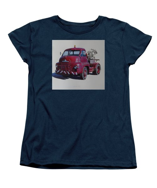 Women's T-Shirt (Standard Cut) featuring the painting Bedford S Type Wrecker. by Mike  Jeffries
