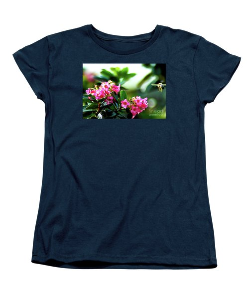 Women's T-Shirt (Standard Cut) featuring the photograph Bee In Flight by Micah May