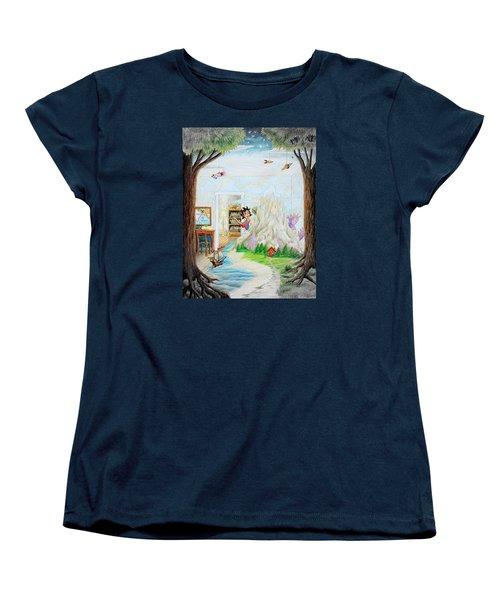Women's T-Shirt (Standard Cut) featuring the painting Beginning A Book by Matt Konar