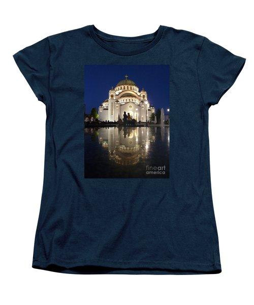 Women's T-Shirt (Standard Cut) featuring the photograph Belgrade Serbia Orthodox Cathedral Of Saint Sava  by Danica Radman