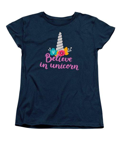 Believe In Unicorn Women's T-Shirt (Standard Cut) by Edward Fielding