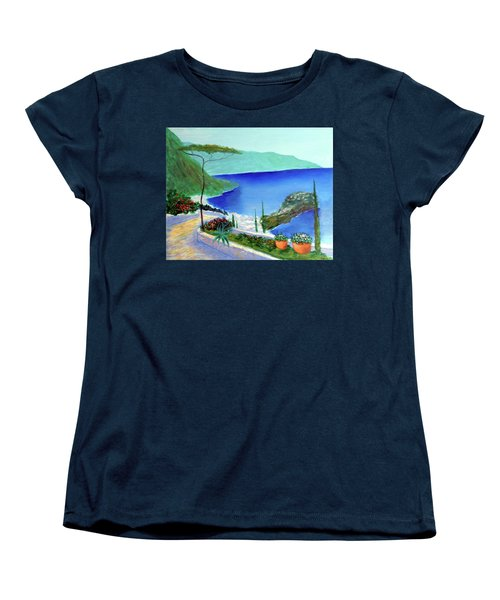 Women's T-Shirt (Standard Cut) featuring the painting Bella Monaco  by Larry Cirigliano